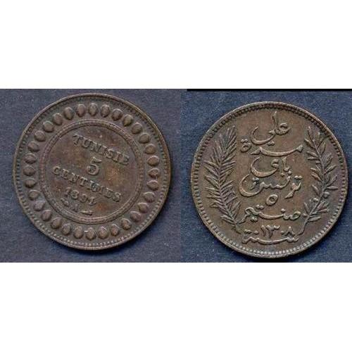 TUNISIA 5 Centimes 1891