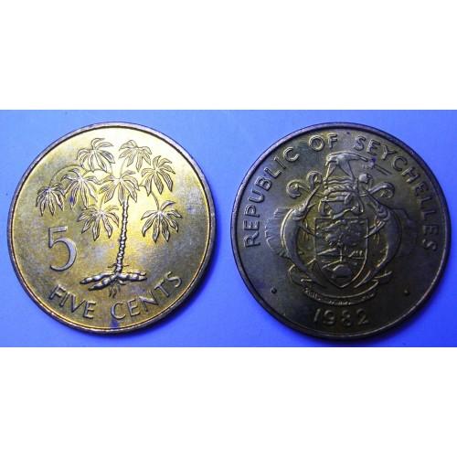 SEYCHELLES 5 Cents 1982