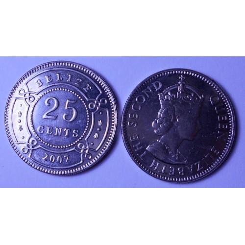 BELIZE 25 Cents 2007