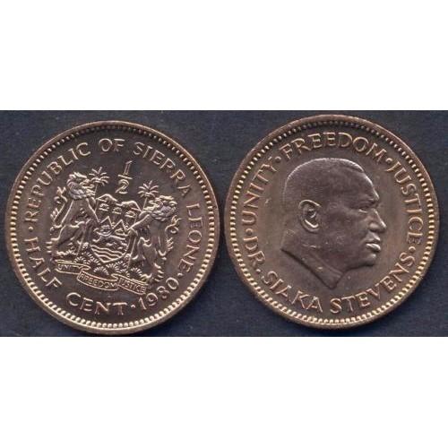 SIERRA LEONE 1/2 Cent 1980...