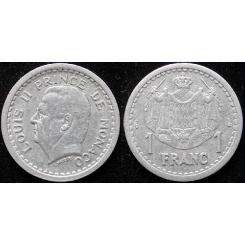 MONACO 1 Franc 1943 Louis II