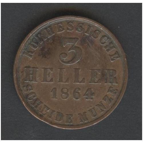 HESSE CASSEL 3 Heller 1864