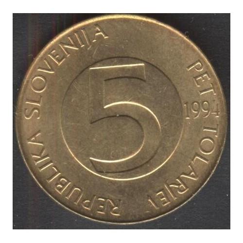 SLOVENIA 5 Tolarjev 1994