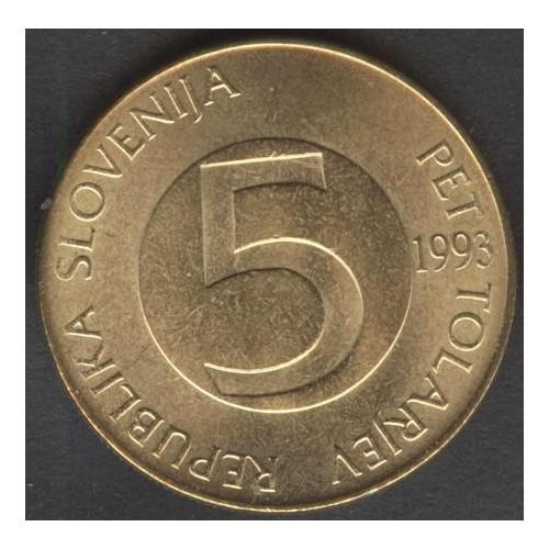 SLOVENIA 5 Tolarjev 1993