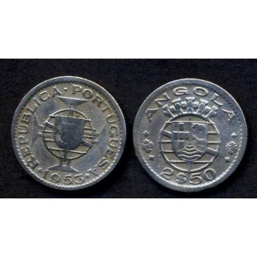 ANGOLA 2 1/2 Escudos 1953