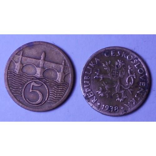 CZECHOSLOVAKIA 5 Haleru 1938