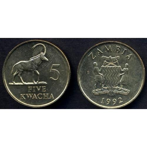 ZAMBIA 5 Kwacha 1992