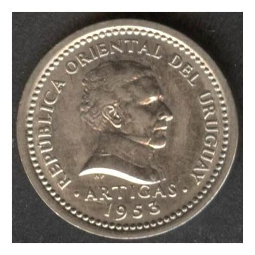 URUGUAY 2 Centesimos 1953...