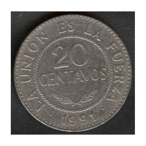 BOLIVIA 20 Centavos 1991