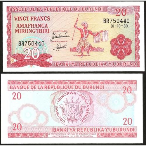 BURUNDI 20 Francs 1991