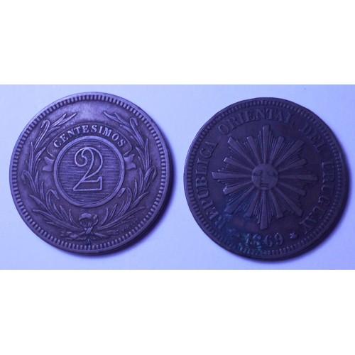 URUGUAY 2 Centesimos 1869 A