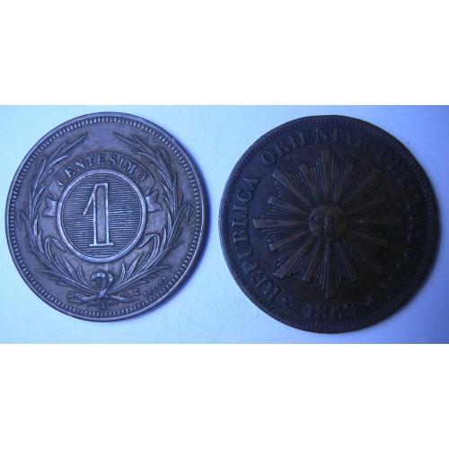 URUGUAY 1 Centesimo 1869A