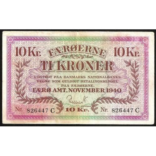FAEROE ISLANDS 10 Kroner 1940