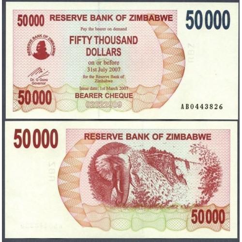 ZIMBABWE 50.000 Dollars 2007