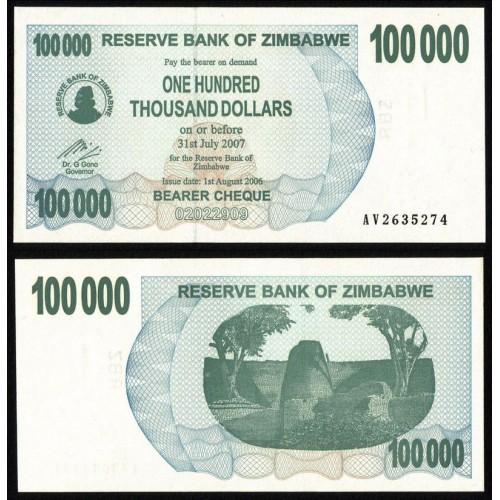 ZIMBABWE 100.000 Dollars 2007