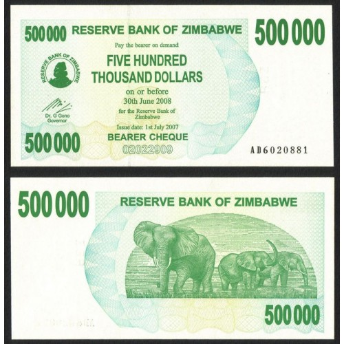 ZIMBABWE 500.000 Dollars 2007