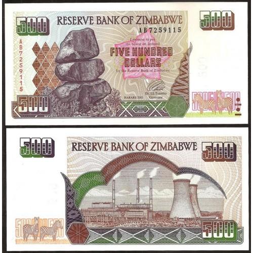 ZIMBABWE 500 Dollars 2001