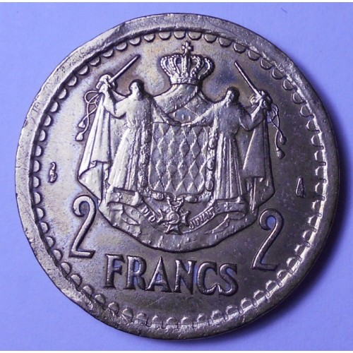 MONACO 2 Francs 1945 Louis II