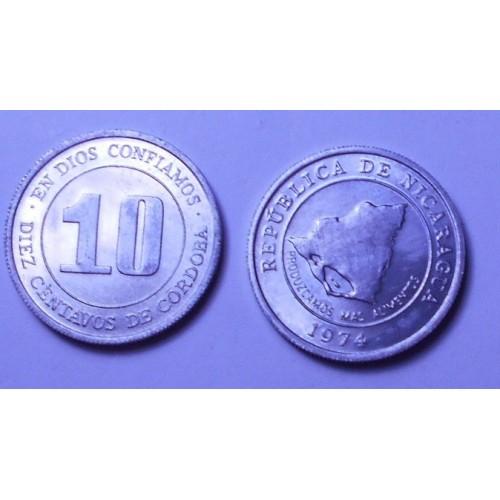 NICARAGUA 10 Centavos 1974 FAO