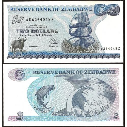 ZIMBABWE 2 Dollars 1994