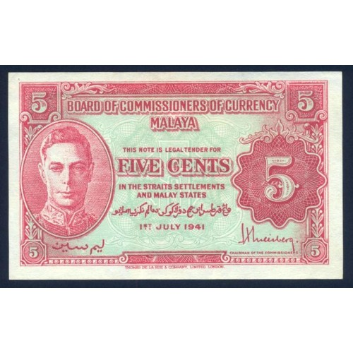 MALAYA 5 Cents 1941
