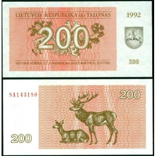 LITHUANIA 200 Talonas 1992
