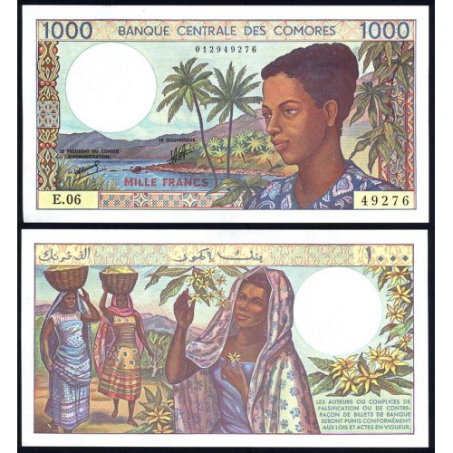COMOROS 1000 Francs 1986