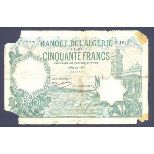 ALGERIA 50 Francs 1937