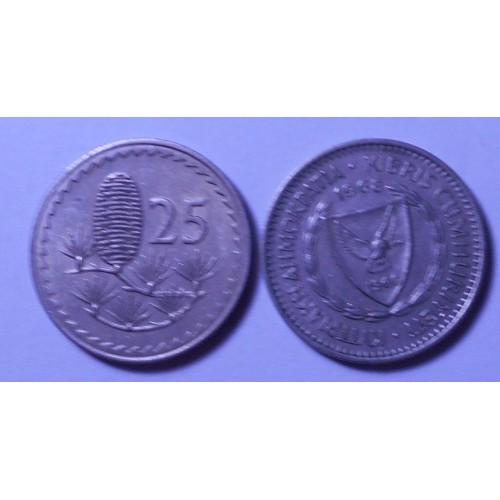 CYPRUS 25 Mils 1968