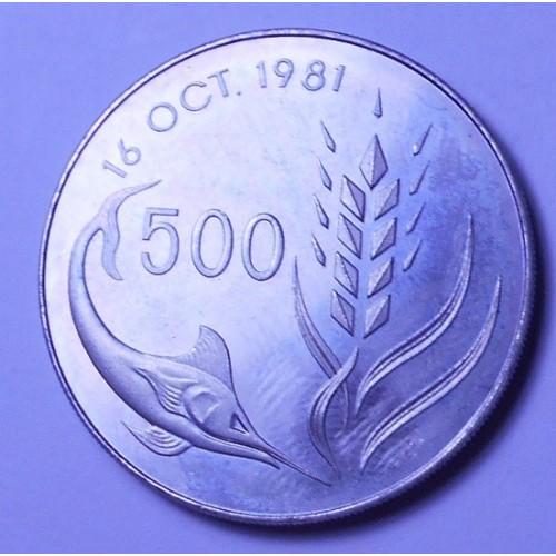 CYPRUS 500 Mils 1981 World...