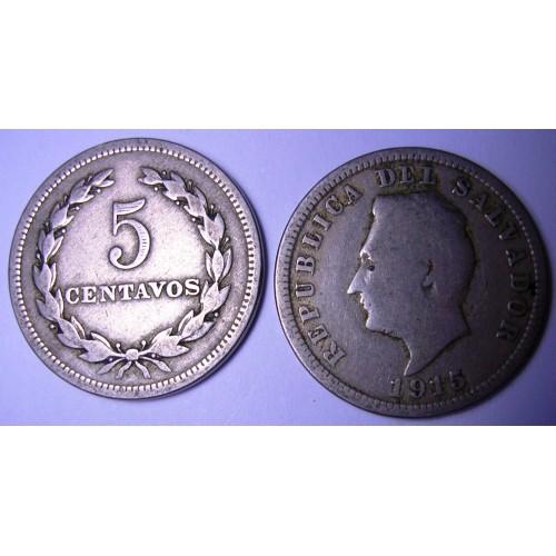 EL SALVADOR 5 Centavos 1915