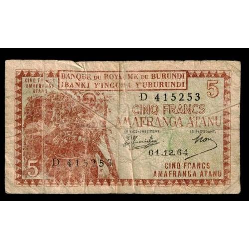 BURUNDI 5 Francs 1964