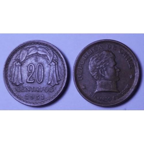 CHILE 20 Centavos 1951