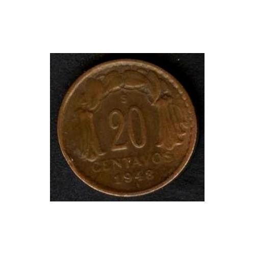 CHILE 20 Centavos 1948