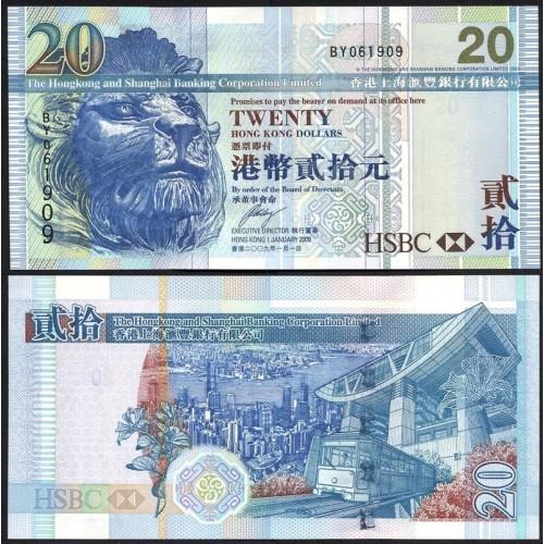HONG KONG 20 Dollars 2009