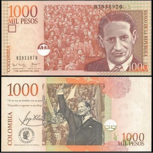 COLOMBIA 1000 Pesos 07.08.2001