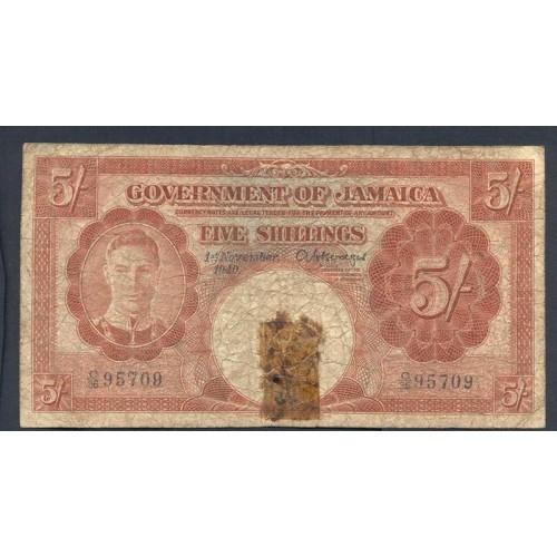 JAMAICA 5 Shillings 1940