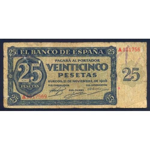 SPAIN 25 Pesetas 1936