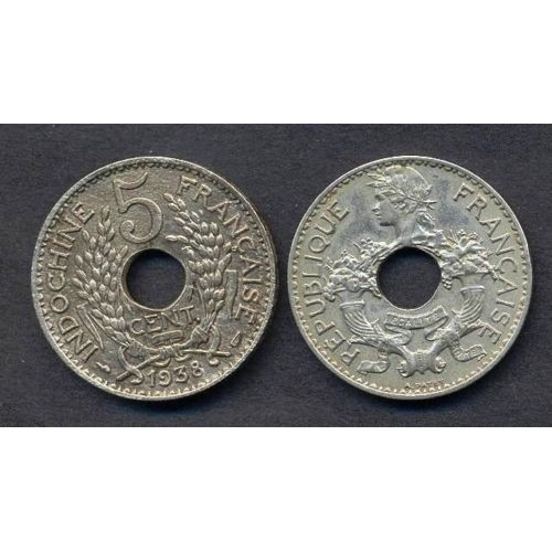 FRENCH INDOCHINA 5 Cents 1938