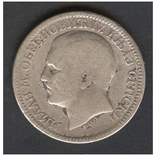 SERBIA 2 Dinara 1879 AG...
