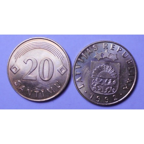 LATVIA 20 Santimu 1992