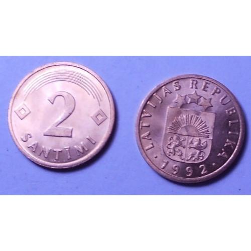 LATVIA 2 Santimi 1992