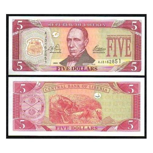LIBERIA 5 Dollars 2003