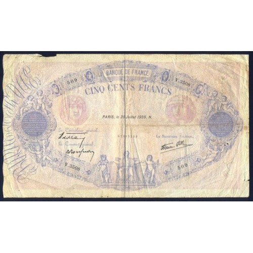 FRANCE 500 Francs 20.07.1939
