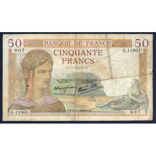 FRANCE 50 Francs 11.01.1940