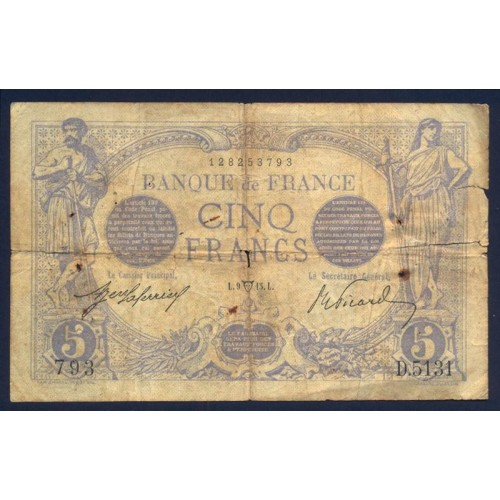 FRANCE 5 Francs 1913