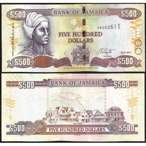 JAMAICA 500 Dollars 2011