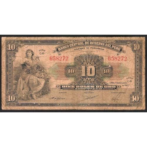 PERU 10 Soles 1947