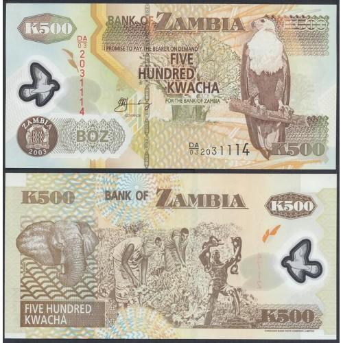 ZAMBIA 500 Kwacha 2003 Polymer