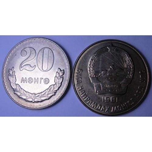 MONGOLIA 20 Mongo 1981
